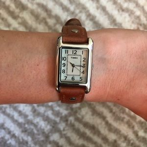 [Timex] Brown Leather Strap Stainless Steel Watch